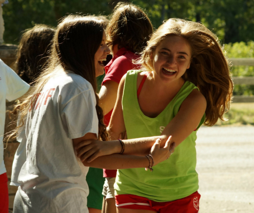 The bond between a camper and her counselor!