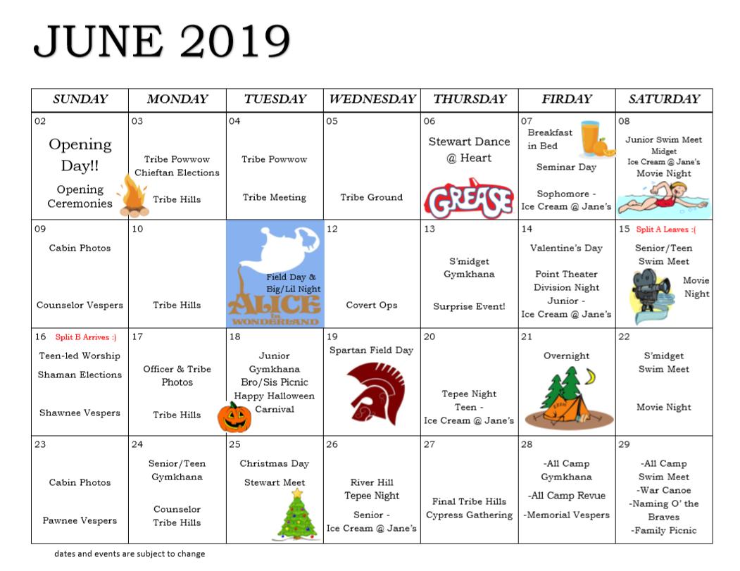 2019 Program Calendar - Heart O' the Hills